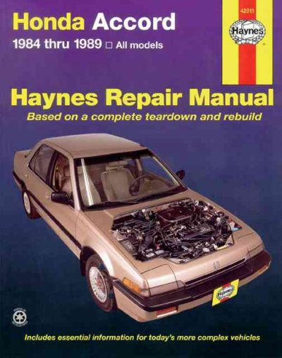 Honda Accord 1984 thru 1989 All Models (Haynes Repair Manual) cover