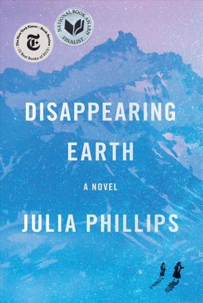 Cover of Disappearing Earth, featuring two figures wandering up a mountain.