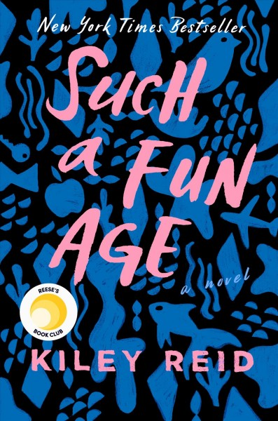 Cover of Such a Fun Age, with title stylized against blue and black patterned background.