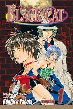 boy with long black hair wearing a cats colar and a man wearing a white suit and hat with an eye patch and a girl with short blue hair