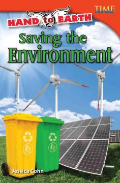 Image of book cover with windmills, recycling bins and solar panels. Text reads, Saving the Environment by Jessica Cohn