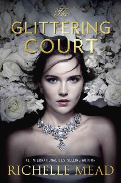 girl wearing a big diamond necklace in a bed of white roses