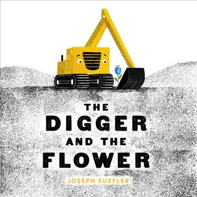 Gray, white, and black background.  Picture of an animated yellow backhoe scooping up a beautiful blue flower.