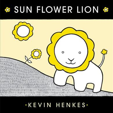 Color palette limited to yellow, black, white, and gray.  Picture of a sun, sunflower, and lion composed of the same core shape, white but scalloped in yellow.