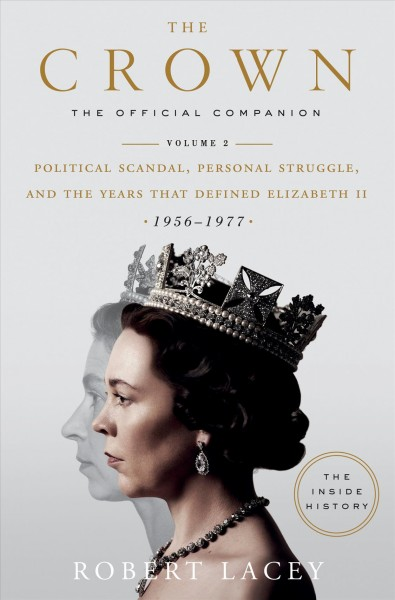 Profile photo of actress Olivia Colman portraying Queen Elizabeth II superimposed over black and white profile photo of Queen Elizabeth II against a light gray background