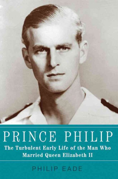 Black and white photo of Prince Philip in his Royal Navy uniform as a younger man