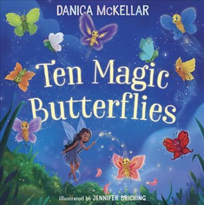 The background is of various shades of blue.  There's an animated fairy and several animated, colorful butterflies.