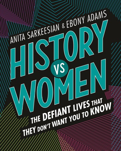 The words History vs Women in teal