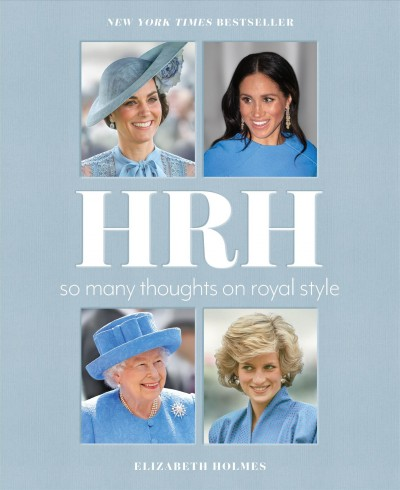 Four separate images of (clockwise from top left) the Duchess of Cambridge, the Duchess of Sussex, Princess Diana, and Queen Elizabeth II against a light blue background; all four are wearing some shade of blue in their picture