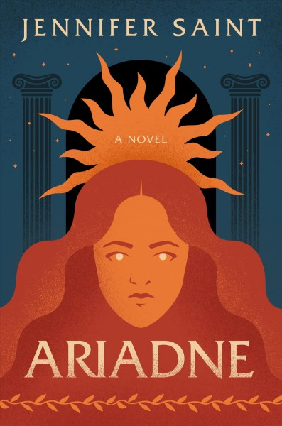 illustration of a woman's face in red with a sun behind her and two Greek ionic columns on either side of the sun, blue back ground with stars