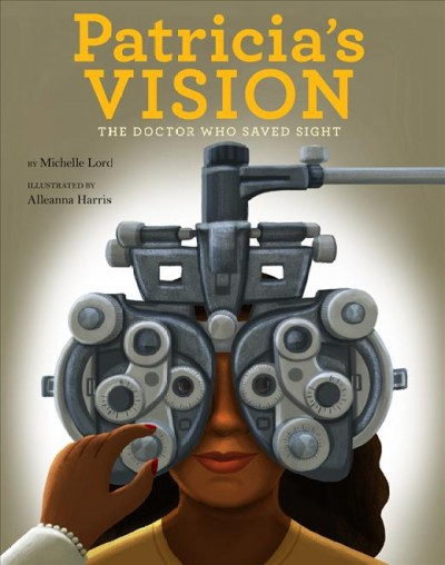 Illustration of young woman receiving a vision exam with vision exam glasses over her eyes