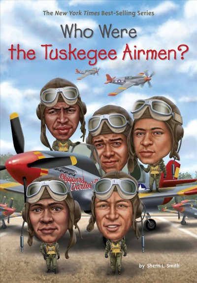 illustration of five World War II African American pilots in front of World War II era planes