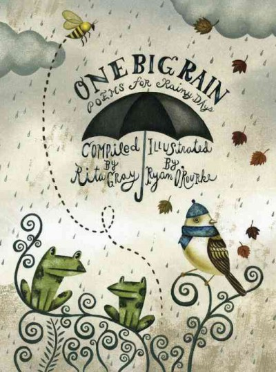 Illustrated image of rainfall and clouds over frogs and bird, wearing a scarf and cap, will bee flies around with leaves falling